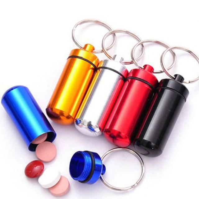 Mini Waterproof Pill Box Key rings Metal Keychain Storage Sealed Medicine Bottle Key chain Outdoor Travel Portable Bottles A0940