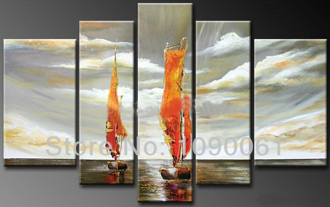 Hand Painted Modern Abstract Sailboat Oil Painting Seascapes 5 Piece Grey Ocean Canvas Wall Art Home Decor Picture Framed Set - Enjoy Living Museum store