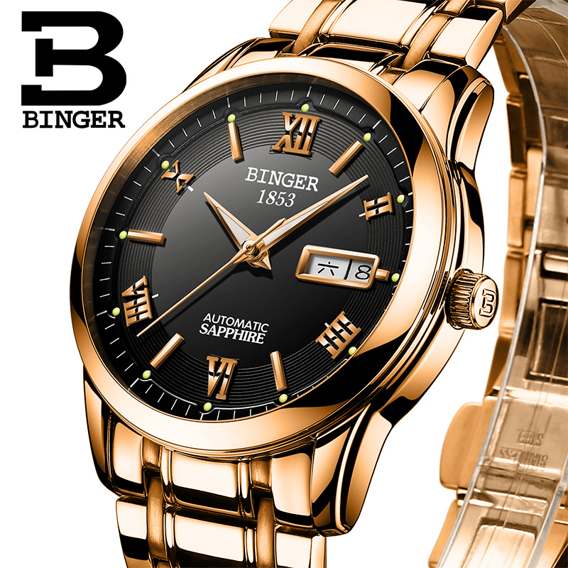 Switzerland watches men luxury brand Wristwatches BINGER luminous Automatic self-wind full stainless steel Waterproof  BG-0383-8 switzerland watches men luxury brand wristwatches binger luminous automatic self wind full stainless steel waterproof bg 0383 3
