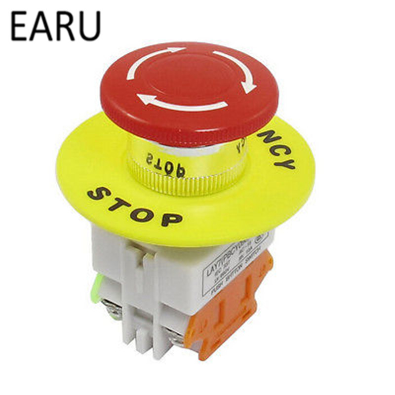 Red Mushroom Cap 1NO 1NC DPST Emergency Stop Push Button Switch AC 660V 10A Switch Equipment Lift Elevator Latching Self Lock free shipping 22mm aluminum emergency stop switch push button switch latching 2no 2nc car button pin terminal 22jt l s 2k2b