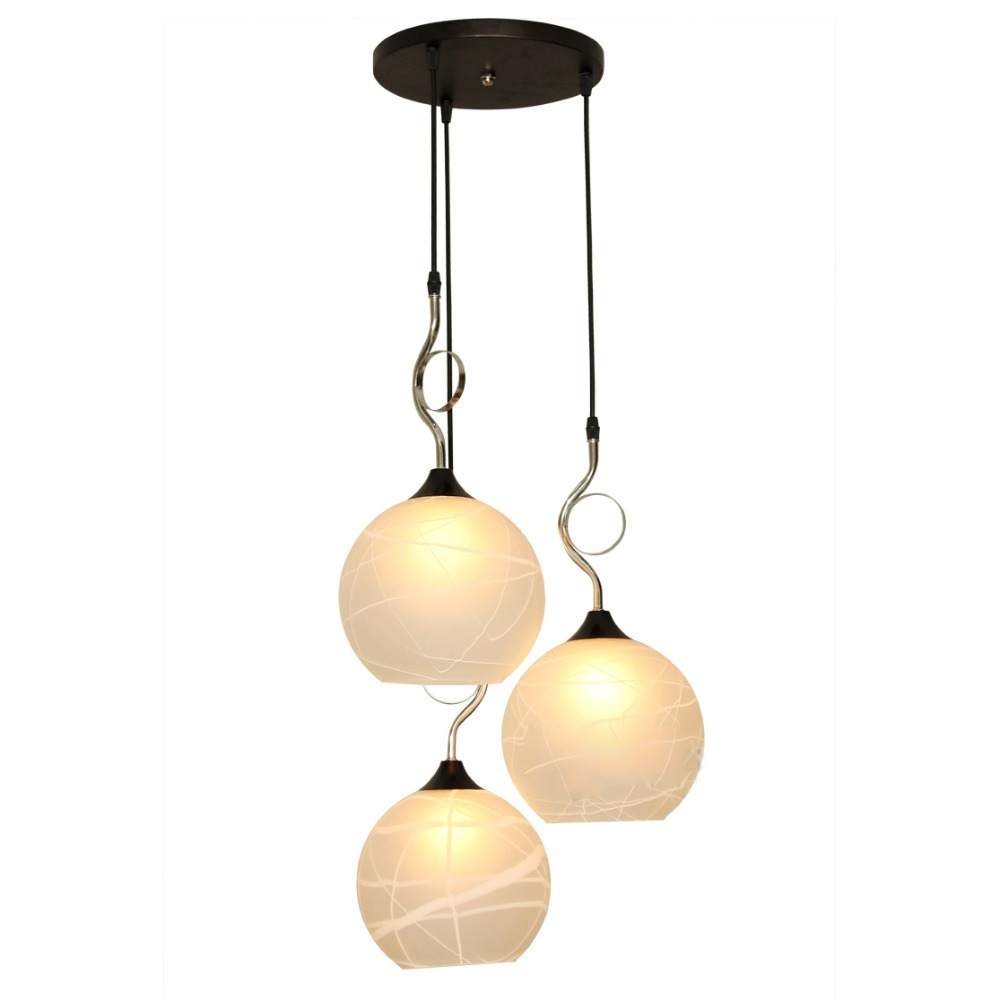 Modern dining room pendant lighs round top 3 lights white for Dining room 3 pendant lights