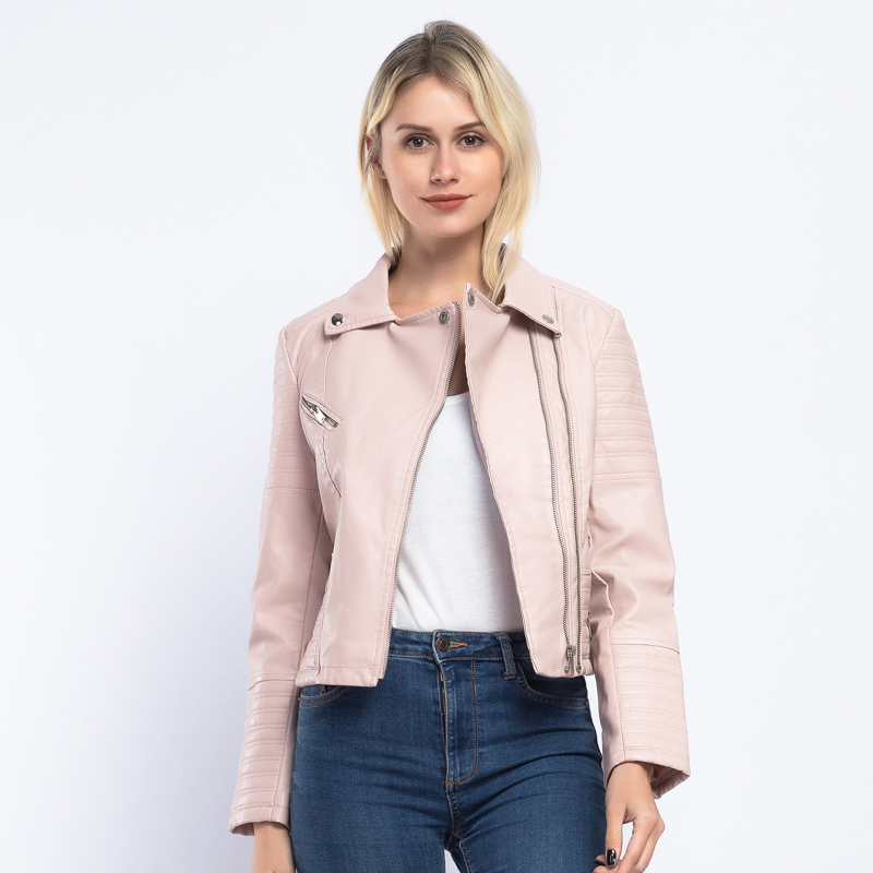 Brand Solid   Leather   Jacket Women 2019 Spring New Chic PU Faux   Leather   Coat Women Autumn Slim Biker Jacket Streetwear AO905