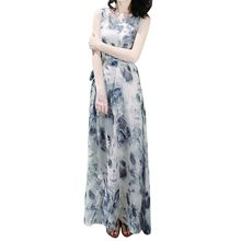 Floral Printing Long Dress Women Fashion Summer Bandage Mid-Calf Sleeveless Beach Dresses Chinese Style Maxi Dress #P10(China)