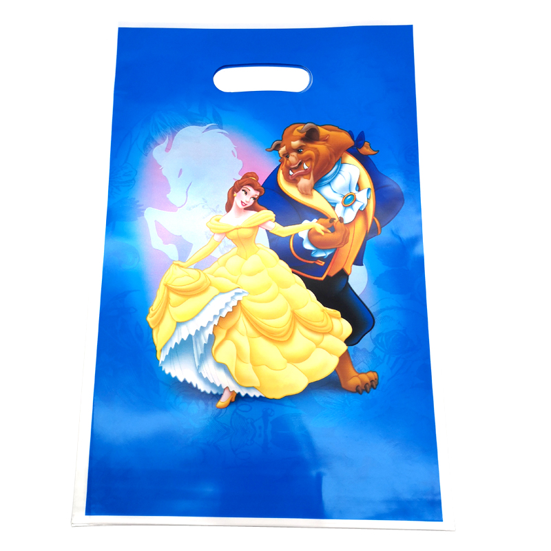 Kids Girls Favors Baby Shower Party Loot Bags Decorate Happy Birthday Party Beauty And Beast Theme Plastic Gifts Bags 10pcs/lot