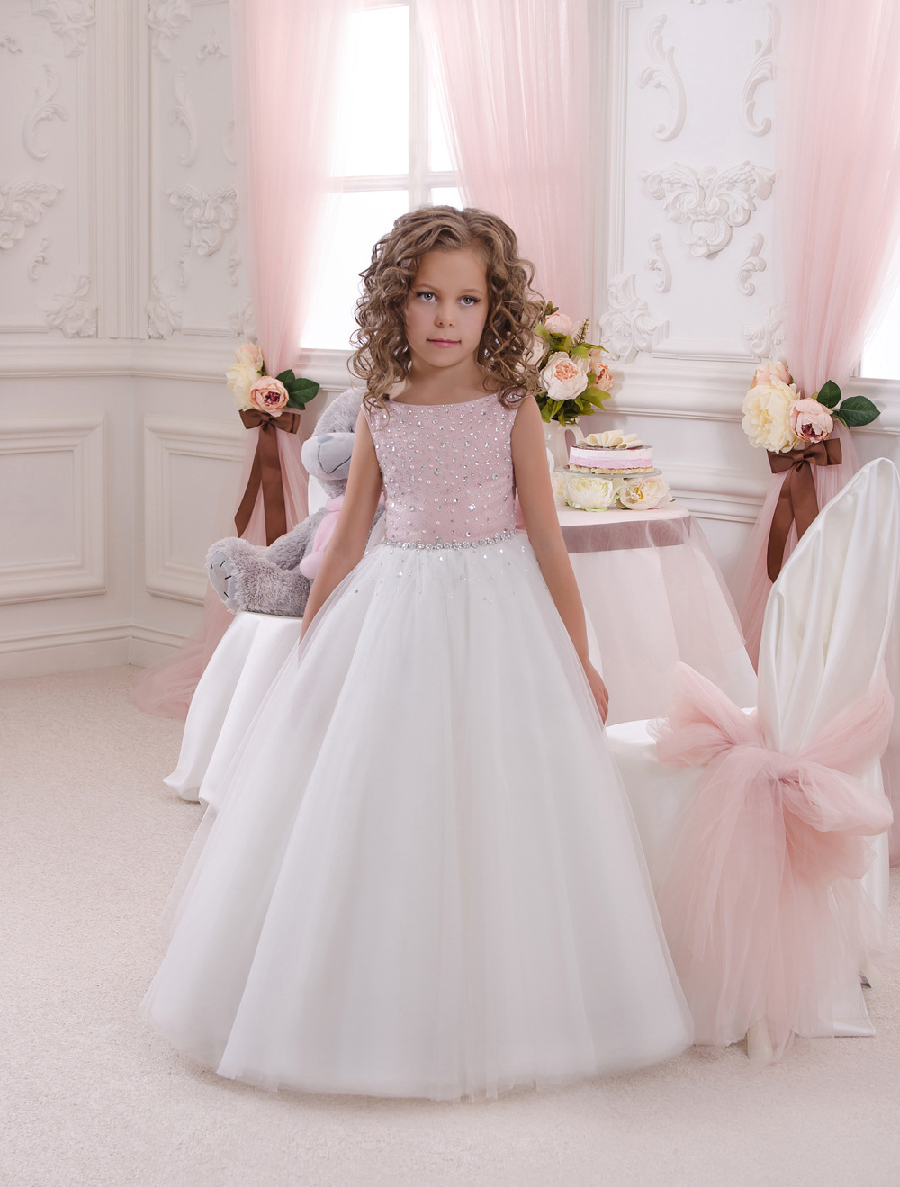 Sweet A Line Bow   flower     girl     dresses   communion first   dresses   crystal diamond decoration children party   dress