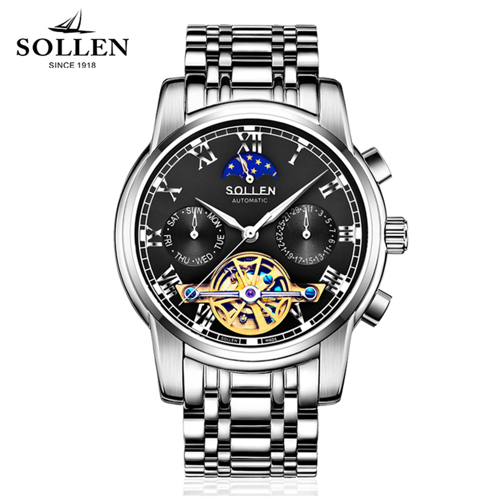 SOLLEN Fashion Men Watches Top Brand Luxury Tourbillon Watch Men Sport Full Steel Automatic Mechanical Watches waterproof Clock ailang tourbillon automatic mechanical watch men s waterproof 50m army sport watches men full steel luminous clock reloj hombre
