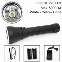 Super Brightness XHP70 LED Yellow White Light 5000 Lumens Diving Flashlight Tactical 26650 Torch Underwater 100M