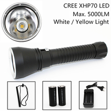Супер Яркость XHP70 LED желтый/белый свет 5000 люмен Дайвинг фонарик Тактический 26650 факел Подводные 100 м Водонепроницаемый