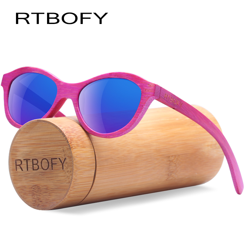 все цены на RTBOFY Polarized Wood Sunglasses for Children Bamboo Frame Eyeglasse Polarized Lenses Glasses Vintage Design Shades UV400 Protec онлайн