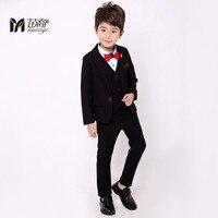 (מעיל + מכנסיים + עניבת פרפר + חולצה) חליפות ילד בני חליפת חתונה Slim Fit מוצק הגעה חדשה אופנה Bridegroon בליזר חליפה שחורה חתונה