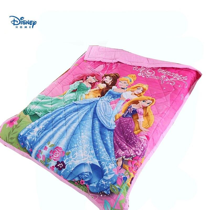 Disney princesse couette rose literie twin taille pour bébé fille couvre lit couture jeter couverture mince couette été 3d linge ado