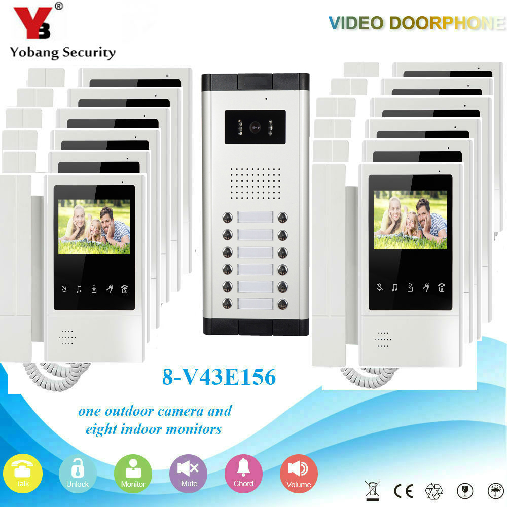 YobangSecurity 12 Units Apartment Video Intercom 4.3 Inch Color LCD Video Door Phone Doorbell Intercom IR Camera Monitor System