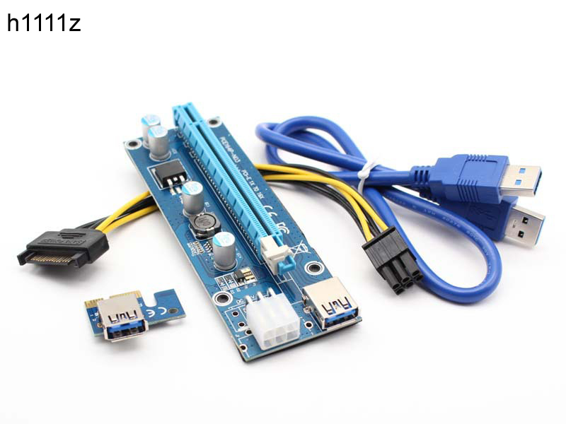 Riser Card 60CM PCIe PCI-E PCI Express Card 1x to 16x USB 3.0 Data Cable SATA to 6Pin ID ...