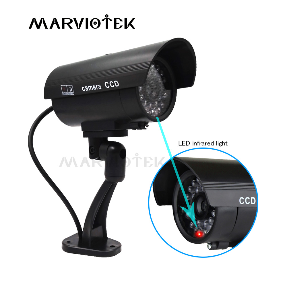 Dummy Camera Waterproof Outdoor Home Security Video Surveillance CCTV Dummy Cameras Bullet Camera With LED Light Fake Camera