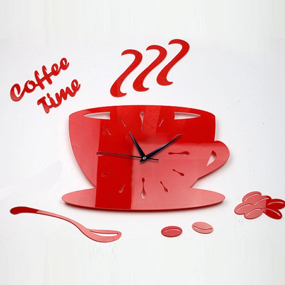 2016 horké prodat kreativní 3D šálek kávy hodiny ukazatel akrylové ultra tiché ložnice obývací pokoj nástěnné hodiny křemenné hodiny doprava zdarma