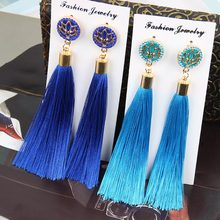 2018 Trendy Bohemian Crystal Tassel Earrings White Blue Red Pink Silk Fabric Long Drop Dangle Tassel Vintage Earrings For Women(China)