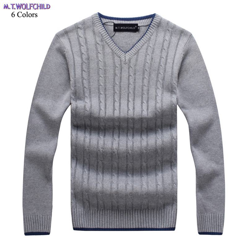 Fashion 100% Cotton Winter Mens V-neck Long Sleeve Knitted Sweaters Casual Mens Thick Sweaters Solid Color Pullovers Sweaters
