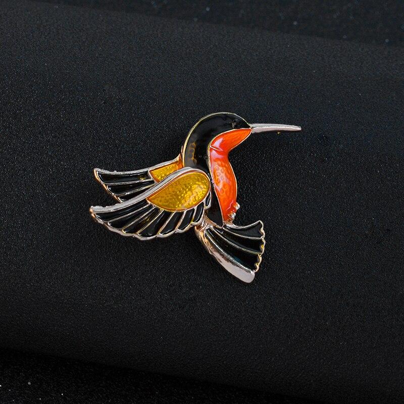 Colorful Glaze Flying Birdie Red-crowned Crane Flamingo Metal Bird Brooch Pins Dress Jacket Pin Badge Gift Jewelry