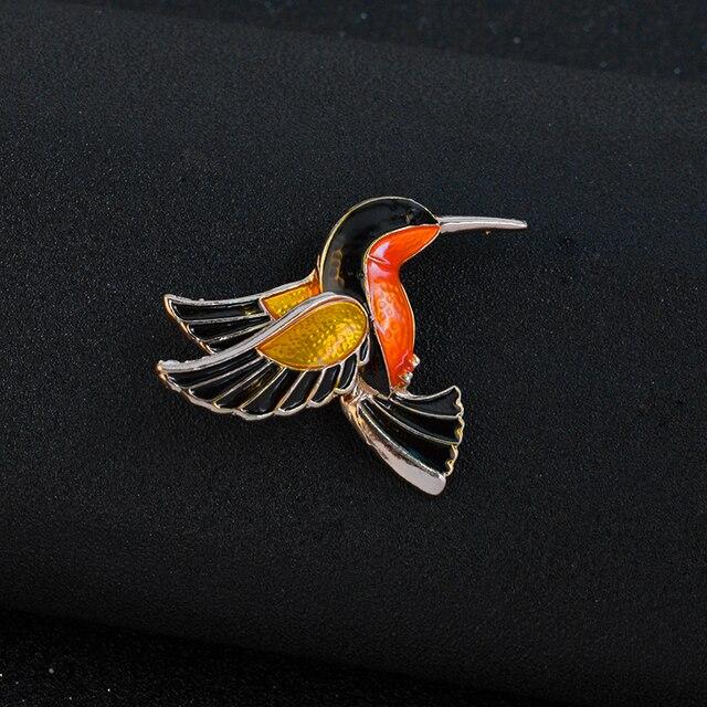 Colorful Glaze Flying Birdie Red-crowned Crane Flamingo Metal Bird Brooch Pins D