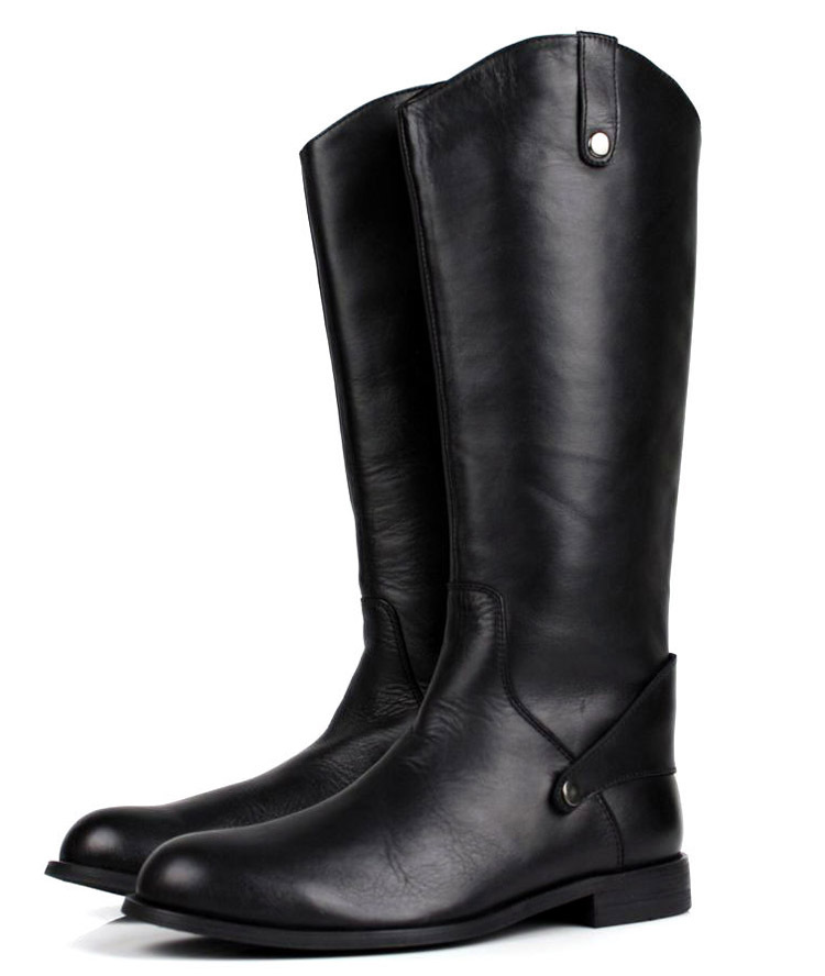 Large size EUR45 fashion black knee high mens boots genuine leather riding boots mens motorcycle boots mens winter boots shoes