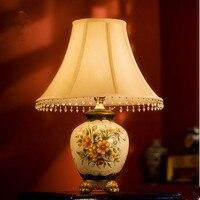 European Retro Handdrawing Ceramic Table Lamps Nostalgic Rural Fabric Art E27 LED Lamp For Bookstore Table