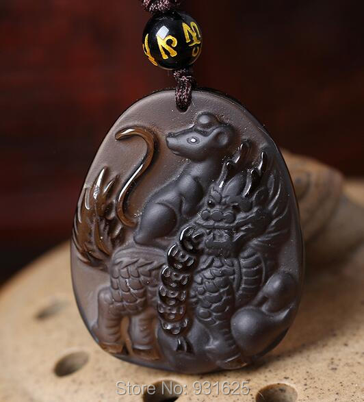 Beautiful Handwork Natural Ice Clear Obsidian Carved Lucky Kylin Rat Amulet Pendants + free Necklace Fine Jade Fashion Jewelry