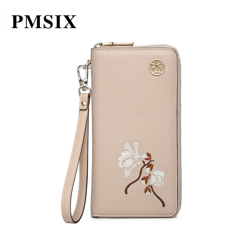 PMSIX 2019 Elegant Embroidery Flowers Long Zipper Women Purse Simple Lady Luxury Female Purse classic Designer bags PMSIX 2019 Elegant Embroidery Flowers Long Zipper Women Purse Simple Lady Luxury Female Purse classic Designer bags
