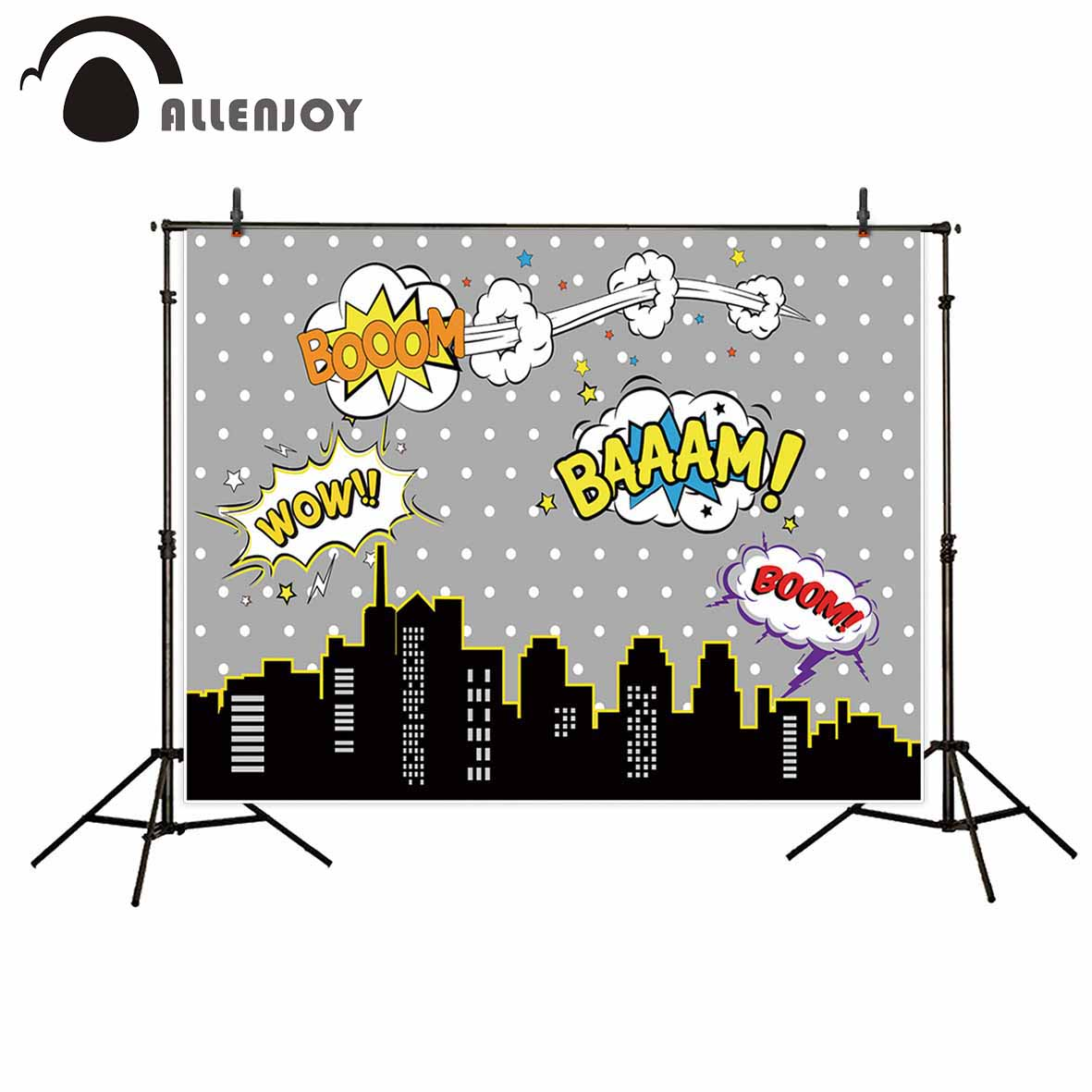 Allenjoy Gray super hero city backdrop white dots party decoration camera photographic professional new photographic backdrops
