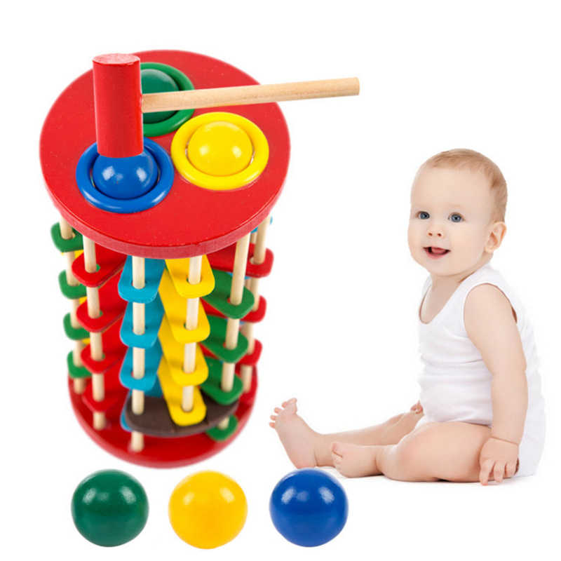 4cb74be73f239 Wooden Toys Batting Ladder Hand Knock The Ball Montessori Mathematics Early  Educational Colorful Toys For Children