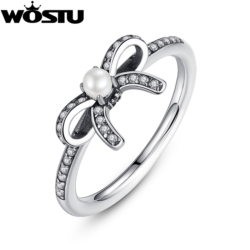 489c9e779 ... low price wholesale 925 sterling silver delicate sentiments bow rings  with white pearl clear cz for sweden pandora ...