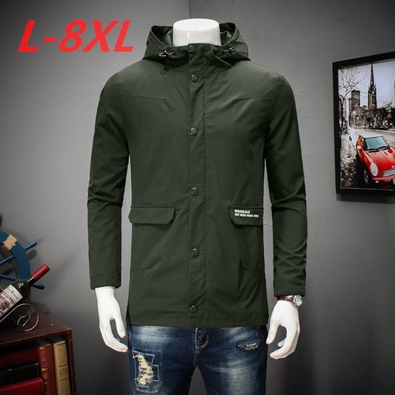 spring and autumn big size 8XL 7XL 6XL 5XL 4XL Jacket Men Windproof Hood parka mens jackets and coats Windbreaker Coat masculina men plus size 4xl 5xl 6xl 7xl 8xl 9xl winter pant sport fleece lined softshell warm outdoor climbing snow soft shell pant