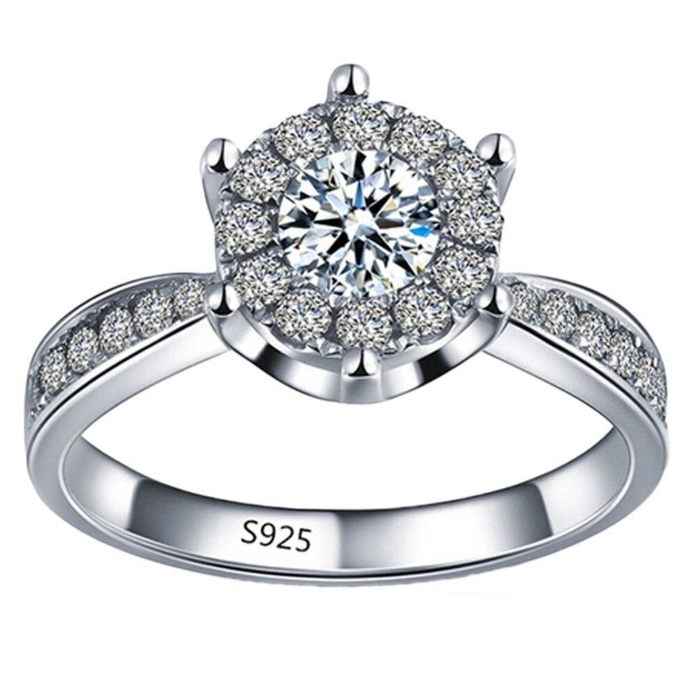 2019 Glänzende Kristall Ring Silber Überzogene Hochzeit Engagement Ring Liebe Nlaid Zirkon Ring Feine Frauen Europäischen Schmuck Dauerhafte Modellierung