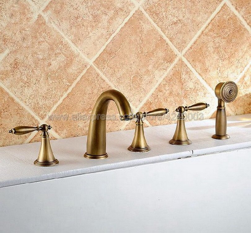 Antique Brass 5pcs Deck-Mount Roman Tub Faucet with Hand Shower Spray Ktf036Antique Brass 5pcs Deck-Mount Roman Tub Faucet with Hand Shower Spray Ktf036