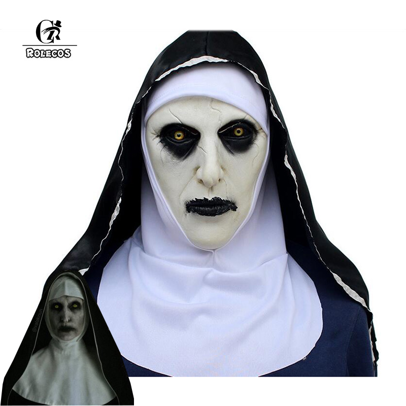 Rolecos the conjuring 2 máscara a freira valak cosplay máscara látex terror máscaras de terror halloween traje acessório para homens