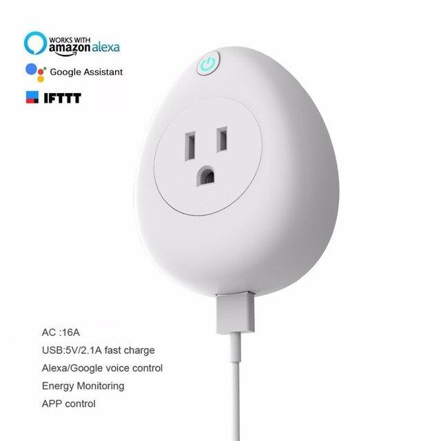 Hyleton wtyczka Wi-Fi inteligentne gniazdo zasilania z 2.1A szybka ładowarka USB sterowanie głosem wtyczka EU/UK/US 2 kolory dla inteligentnego automatyki domowej