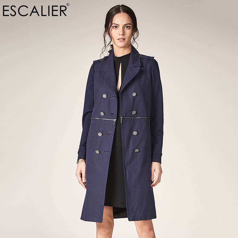 ESCALIER Women Spring Coat Exclusive Design Tibetan Youth Single-Breasted Lapel Collar OL Trench Stretch Casual Long