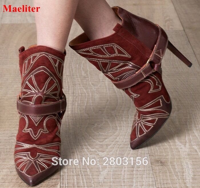 Embroidered Suede Leather Pointed Toe Ankle Boots Stiletto Heel Lady Short Boots Fashion Lady High Heels Boots Shoes sexy women boots solid flock suede zip high heels boots lady stiletto pointed toe ankle boots martin boots high heels s17