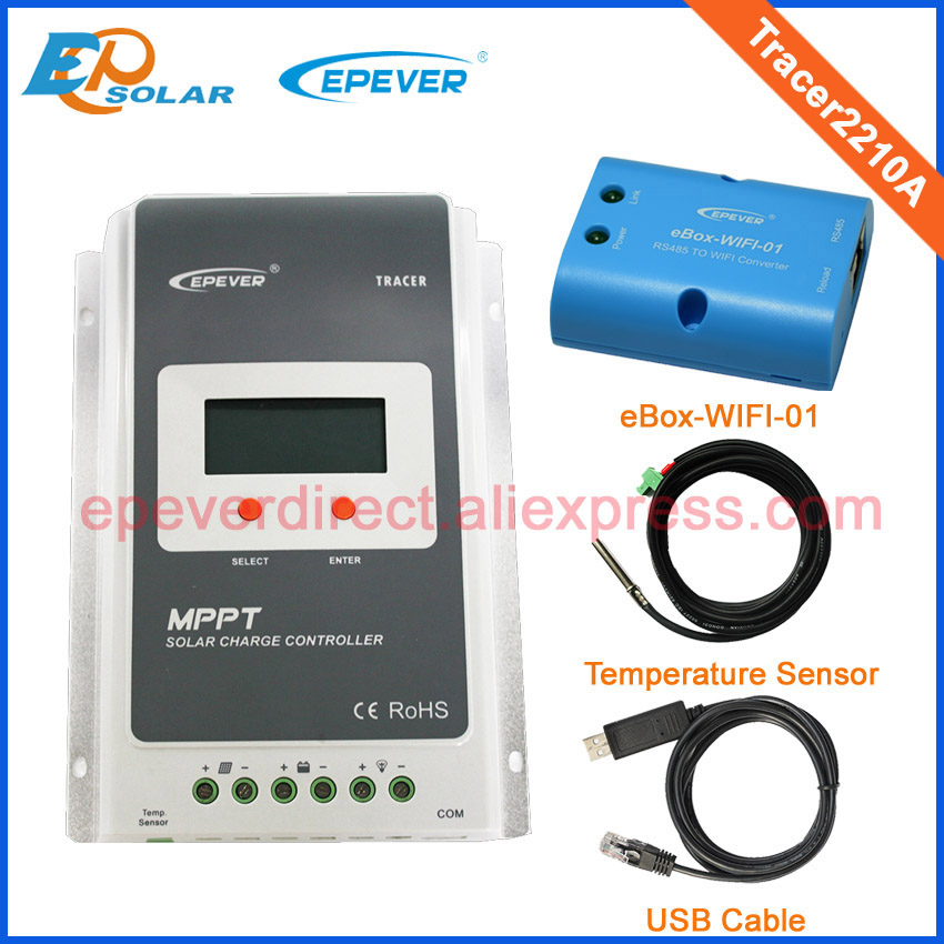 MPPT solar regulator 20A Tracer2210A 12v 24v auto work built in lcd display with wifi USB and temperature sensor simba 12см