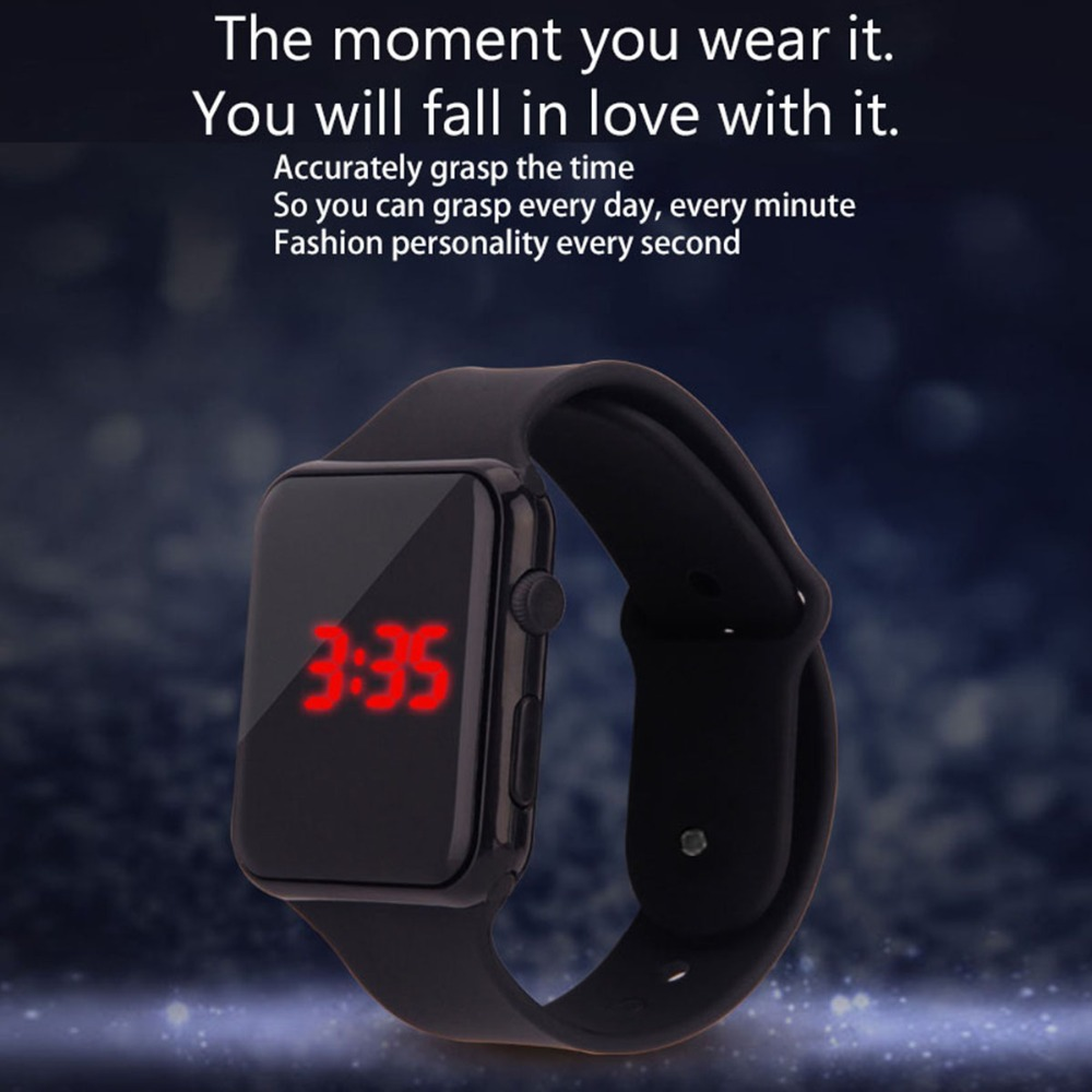 2019 Fashion Rectangle Dial Design Students Fine Sport Rubber  Digital LED Watches Fashion Children Outdoor Wrist Reloj Mujer