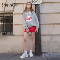 SheInGirl 2018 New Women Shirts Deep V Neck Dark Grey Belt Waist Long Sleeve Flare Sleeve