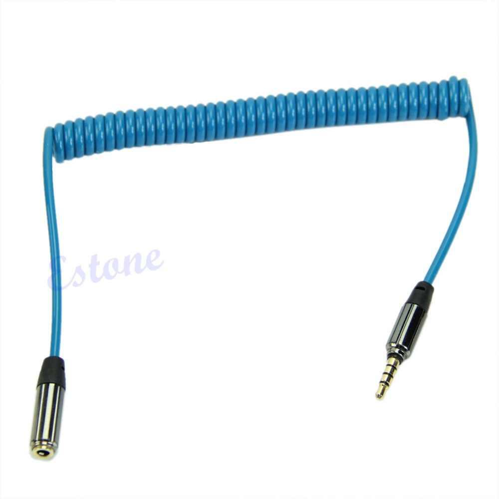 OOTDTY 3,5 мм разъем для мужчин и женщин весна Aux удлинитель спиральный стерео аудио кабель