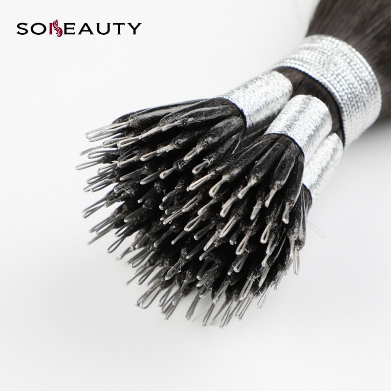 Sobeauty Nano Ring Hair Extensions 1B#  Hair Pre  Hair 50 Strands 40g  Micro Bead Hair Extensions Brazilian Hair