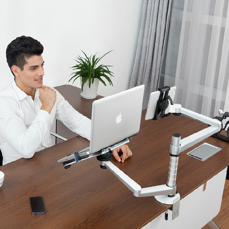free shipping Full Motion Dual Arm 10-15 inch Laptop Holder + 7-10 inch Tablet PC Stand Rotate Holder Desktop Stand OA-9X