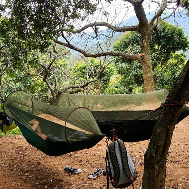 2 pesron Multiuse Portable Hammock Camping Survivor Hammock with Mosquito Net Stuff Sack unnel Shape Swing Bed Tent 2 people portable parachute hammock outdoor survival camping hammocks garden leisure travel double hanging swing 2 6m 1 4m 3m 2m