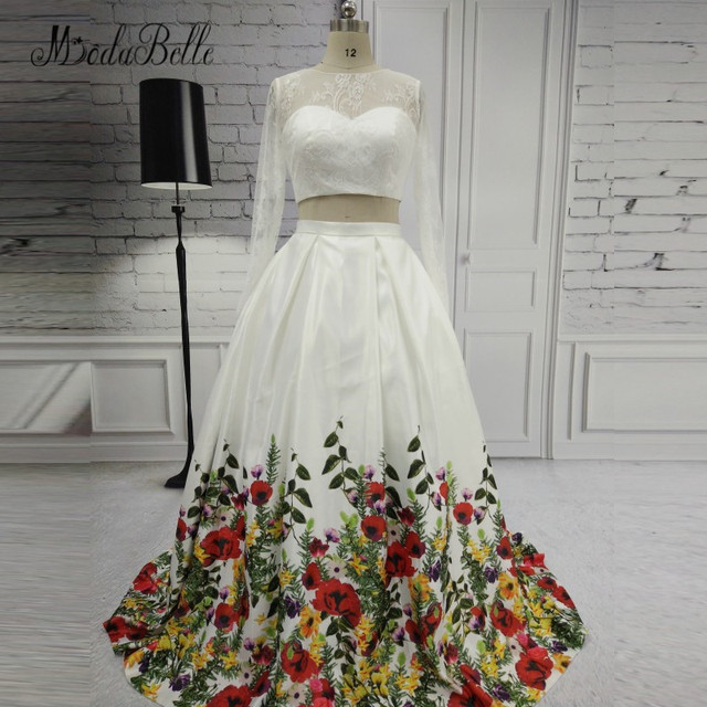modabelle 2018 Floral Printed White Prom Dresses Two Piece Long Sleeve Lace  Open Back Robe Bal De Promo Flower Evening Gowns-in Prom Dresses from ...