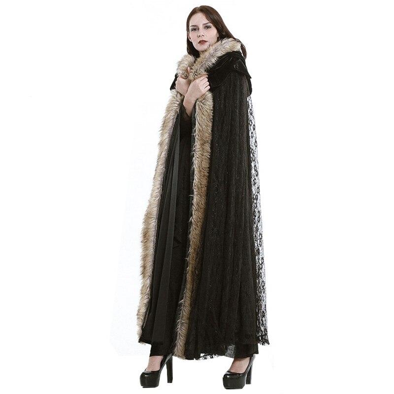 2016 Hiver Steampunk Européen Et Américain Style Gothique Palais Dentelle Long Manteau Femme Manteaux Outwear Noir Couleur Flocage En Peluche