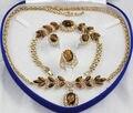 Joyería nobleza choker regalo de la mujer verdadera natural ojo de tigre de oro chapado en oro anillo collar pendiente pulsera + caja grad