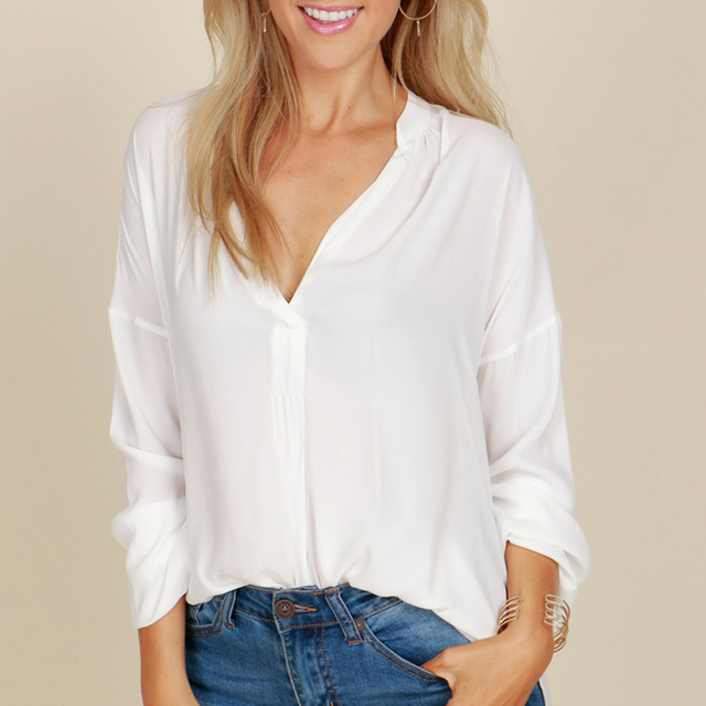 d08ef30e003 LOHILL New Womens Drape Chiffon Blouse Irregular Back and Front Long Sleeve  Casual Ladies OL Work Tee Tops
