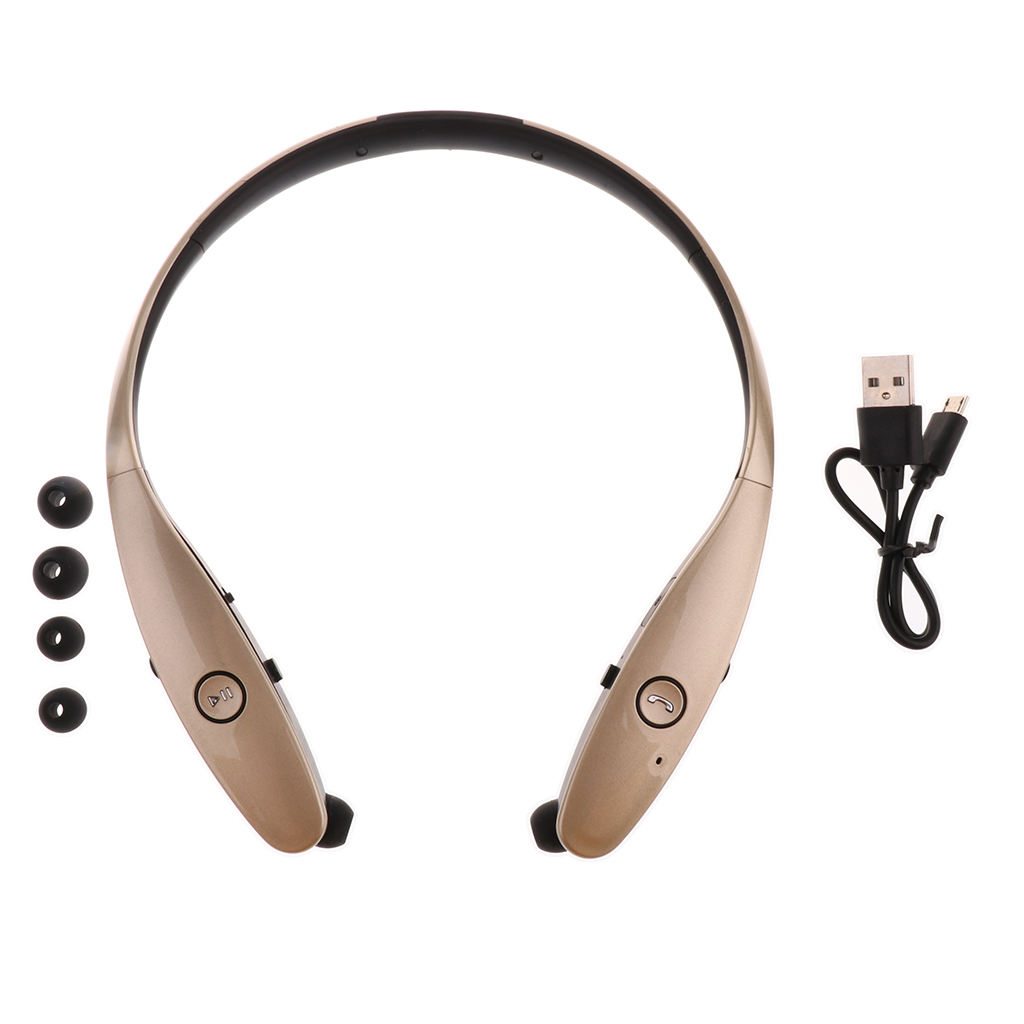 Portable Earphone Sports Stereo Earbuds Bluetooth Wireless Headset Neckband Lifelike Sound HD Voice Headphone BY-HBS900 Gold