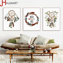 Indian Dreamcatcher Feather Butterfly A4 Poster Nordic Living Room Wall Art Home Decor Canvas Painting Picutre No Frame(China)